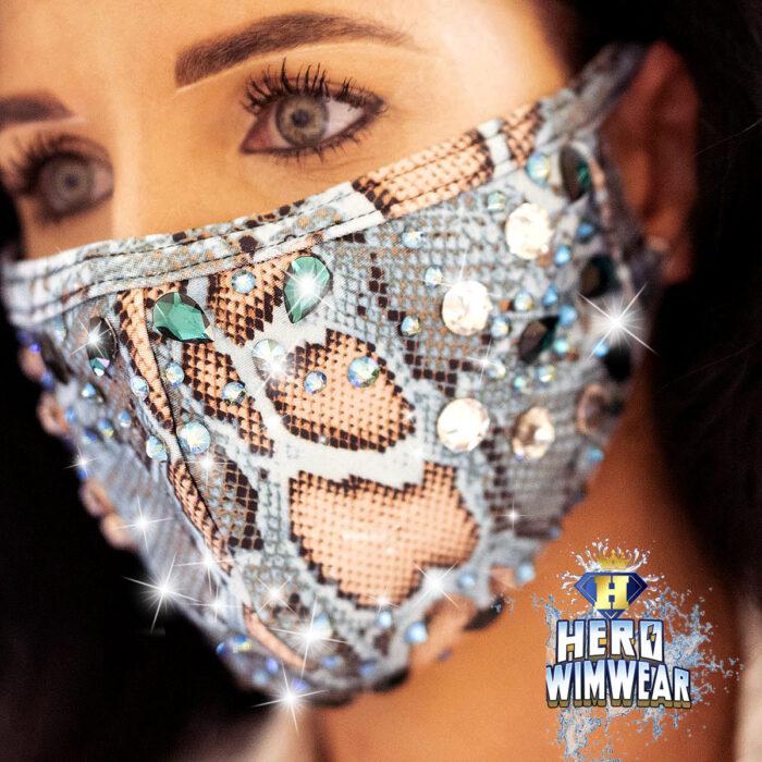 bling mask snake crystals