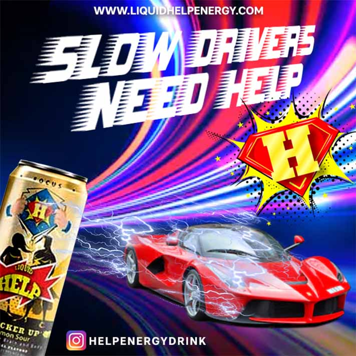 People Driving under speed limit need Help energy drink