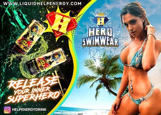 help energy drink and hero swimwear