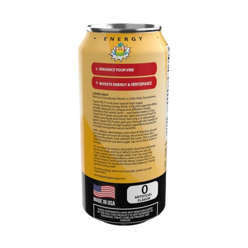Liquid Help Energy Drink Shake Frooty Back of can
